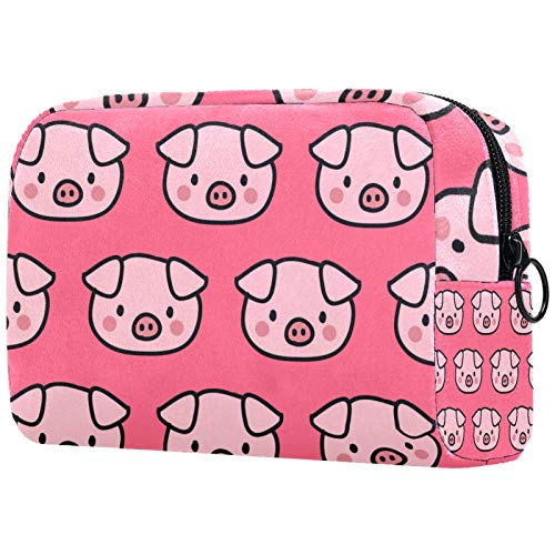 Bolso organizador de cosméticos para mujer, con cremallera, 18 x 7,8 x 12,8 cm, color rosa