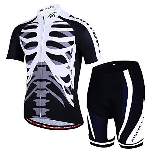XHXMM Maillot de Cyclisme Manches Courtes Homme, avec Cuissard à 3D Gel, Cuissard VTT Courtes Respirant Vêtements de Cyclisme Short à Bretelle pour Le Vélo de Sport de Plein Air,Noir,XXL