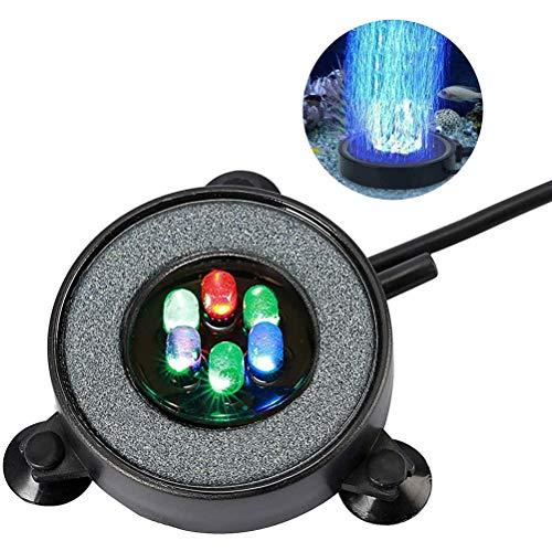 Amiispe Aquarium Bubble Light Aquarium LED Submersible Aquarium Bubble Light Lampe à Bulles sous-Marine colorée adsorbable avec 6 lumières LED pour la décoration des étangs de Poissons d'aquarium