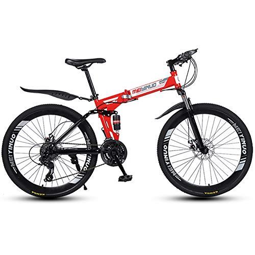 LIU Mountain Bike per Adulti 21/24/27 velocità Biciclette da Esterno per Uomo e Donna da Bici Pieghevoli da MTB per Studenti con Freno a Doppio Disco in Acciaio al Carbonio,21speed