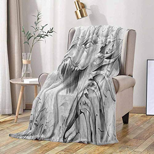 RenteriaDecor Dragon Fleece Blanket Sketch of A Medieval Spiritual Character Mythological Creature Abstract Design 50x70 Inch Throw Blanket for Bed or Couch