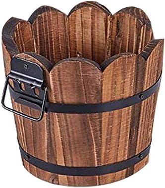 Pots de fleurs en bois carbonisé en forme de vague avec trou de drainage multi-viande pot rétro petit seau en bois baril rond