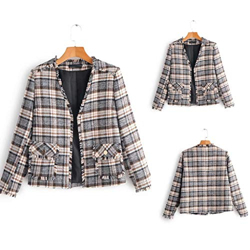 SANFASHION Damen Karierter Anzug Blazer Mantel Jacke Outwear Strickjacke Mode Cardigan Kurzmantel