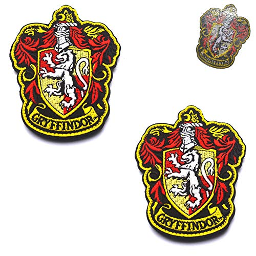 ODSP Compatible with Harry Potter House of Gryffindor House Hogwarts Crest Logo Iron-On Full Color Embroidered Patches Set Sew on Decoration Appliques Emblem Badges Sign