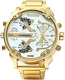 Watch Men Waterproof - Luxury Watch Men Waterproof Shiweibao 3137 Dual Time Display Quartz Wrist With Stainless Steel Band - Outdoor Patch Elegant Reaction Reserve Brown Movado With Issue Watchme