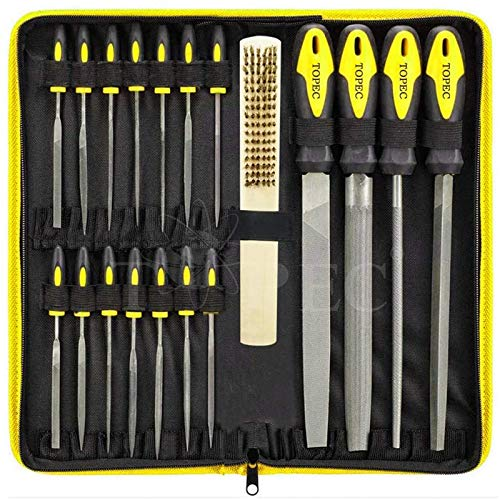 Topec 18Pcs File Set, Round and Flat File Kits are Made of High Carbon-Steel, Ideal Wooden Hand Tool for Woodwork, Metal, Model & Hobby Applications