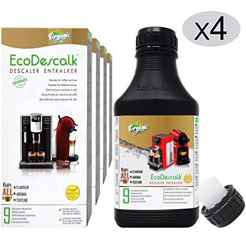 EcoDescalk Biologico Concentrato (4x9 Decalcificazioni). Decalcificante 100{57d6a7c7d1830722ad6599d27d5f89ec9ef97fa4dbc9bd5bd6bb49c59ea87fc5} Naturale. Detergente per Macchine da caffè. Tutte Le Marche: Bosch, Nespresso, DeLonghi, Tassimo, Krups. Prodotto CE.