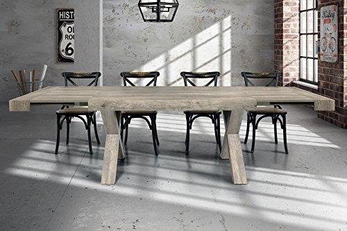 Tavolo Da Pranzo Moderno Di Design Allungabile Cm 90 X 180/230/280 Invecchiato Grigio Per Sala Da Pranzo Cucina Ristorante