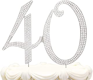 Hatcher lee Bling Crystal 40 Birthday Cake Topper - Best Keepsake | 40th Party Decorations Silver