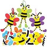 Baker Ross FE363 Moosgummi Bienen Bastelset mit Perlen für Kinder - 5er Pack, Set für Kinder zum...