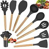 WOODFIB Küchenhelfer Set, 9 Stück Antihaft Silikon Küchenutensilien Set, Utensilien Kochgeschirr Set Hitzebeständiger Silikonspatel Set mit Holzgriff (Grau)