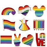 CZF ES 10 Pezzi Orgoglio Smalto Spille LGBT, Gay Pride Pin,Spille con Smalto Arcobaleno, per Vestiti Borse Giacca Accessori di Artigianato Fai da Te