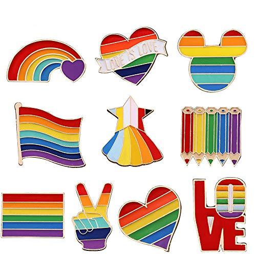 10 Stück Regenbogen Flagge Broschen, Regenbogen Emaille Pins Anstecknadeln, Homosexuell Stolz Pin, Für Pullover, Schals, Schals, Kleider, Anzüge, Taschen, Rucksäcke