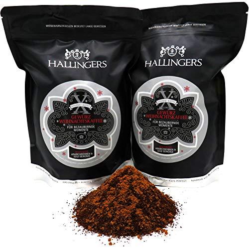 Hallingers Gewürzter Gourmet-Kaffee, schonend langzeit-geröstet (1.000g) - Weihnachtskaffee, Filter-Mahlung, 2x 500g (Aromabeutel) - zu Weihnachten