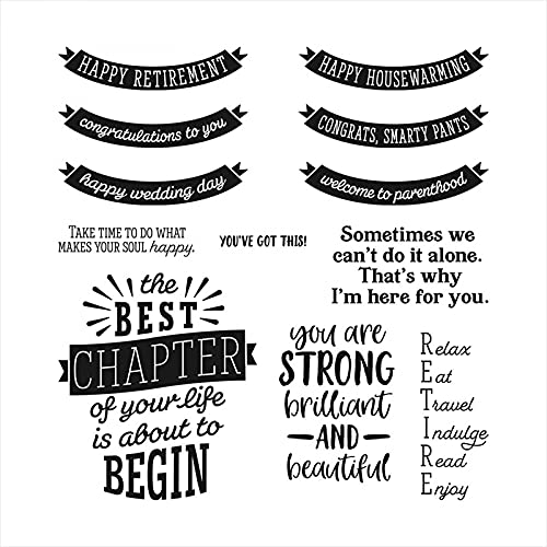 Tags Banner Dies and Stamp for Card Making Happy Retirement,The Best Chapter of Your Life is about to Begin Words Clear Rubber Stamp for DIY Scrapbooking Paper Crafting Handmade Crafts Die Cuts Templa