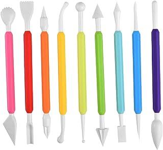 Irich Outils de modelage fondants avec 9 pièces, gâteaux à double pointe, 16 façons différentes de sculpter des gâteaux, p...