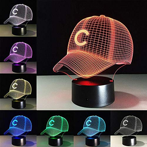 Chicago Cubs Football Hat LED Night Light Touch 7 Colors Changing 3D Desk Lamp USB Touch Table Lamps Bedroom Decoration Gift