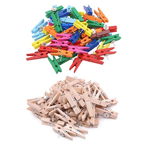 100 Pieces Wooden Push Pins Clips,Colorful Push Pin Pushpins Tacks Thumbtacks for Photo,Note,Cork Boards Artworks or Craft Projects