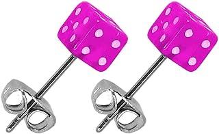 tumundo 2 Orecchini Dadi Cube Punti Neon Bambini Donne Acrilico Orecchino Perno Plug Piercing Acciaio Inossidabile