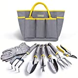 Jardineer Garden Tools Set, 8PCS Heavy Duty Garden Tool Kit with...
