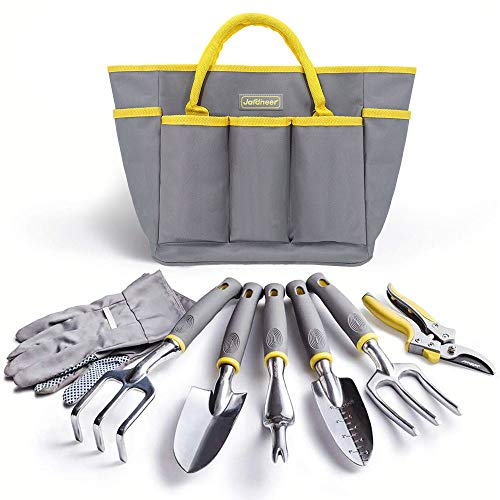 Jardineer Garden Tools Set, 8PCS Heavy Duty Garden Tool Kit with Outdoor Hand Tools, Garden Gloves and Storage Tote Bag, Gardening Tools Gifts for Women and Men