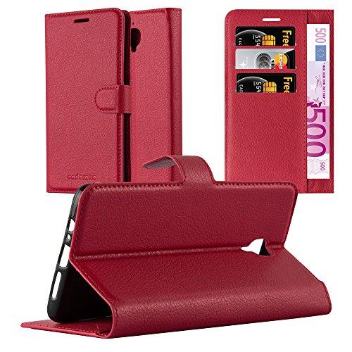 Cadorabo Hülle für OnePlus 3 / 3T in Karmin ROT - Handyhülle mit Magnetverschluss, Standfunktion & Kartenfach - Hülle Cover Schutzhülle Etui Tasche Book Klapp Style
