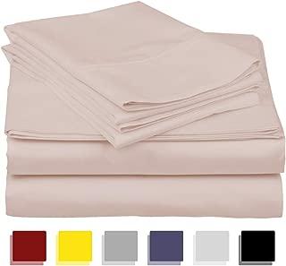 True Luxury 1000-Thread-Count 100% Egyptian Cotton Bed Sheets, 4-Pc King Blush Sheet Set, Single Ply Long-Staple Yarns, Sateen Weave, Fits Mattress Upto 18'' Deep Pocket