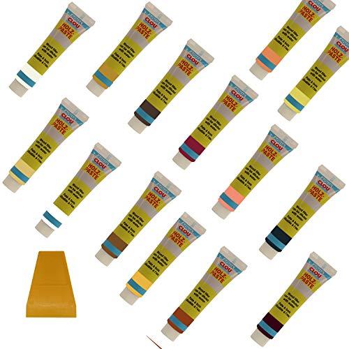 CLOU Holzspachtel - hell + Dunkel - inkl. Spachtel - Holz, Parkett und Laminatspachtel Set - mischbar, trittfest