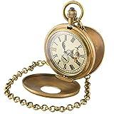 Paddsun Mens Mechanical Pocket Watch Copper Retro Case Tourbillon Vintage Chain