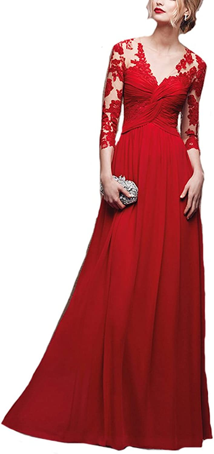 XPLE Line Half Sleeve Lace Appliques Sexy See Through Red Long Prom Dress D49
