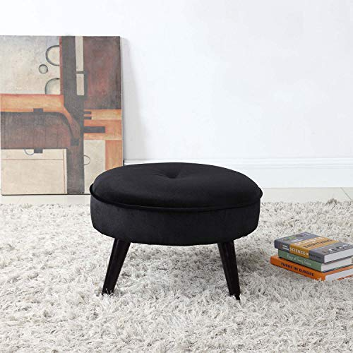 Divano Roma Furniture Round Tufted Velvet Footrest, Footstool, Coffee Table | Jet Black Small/Large Space Home and Living Room, Circular Foot Rest/Stool/Ottoman