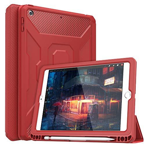 """MoKo Funda Compatible con 2018/2017 iPad 9.7 6th/5th Generation, [Protector de Pantalla Incorporado] Cubierta Anti-Rasguños con Auto Estela/Sueño y Soporte de Pencil para iPad 9.7"""" 2018/2017 - Rojo"""