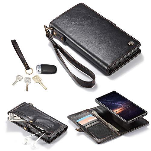 liyuzhu Funda tipo cartera para Samsung Note 9, funda de piel con cremallera, funda desmontable, bolsillo de efectivo, a prueba de golpes, imán de protección (color: negro)