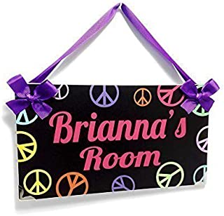 Personalizable Black Name Door Sign Teenagers Peace and Love Symbols Room Decoration