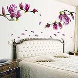 Tophappy Wall Stickers Fiore Grandi Magnolia Removibile Impermeabile Adesivi Murali per Camera da Letto Adesivo da Parete Famiglia Arte Murale Home Decor, Removibile Impermeabile