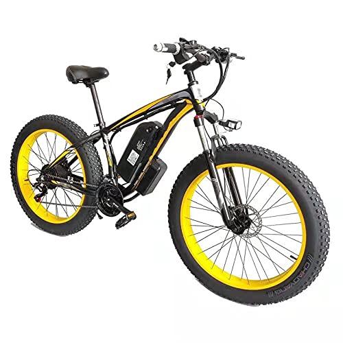YIZHIYA Bicicleta Eléctrica, 26' E-Bike de montaña para Adultos, Ebike Fat Tire de 21 velocidades, Motor de 36V 10Ah 350W, Frenos de Disco Delanteros y Traseros,Black Yellow
