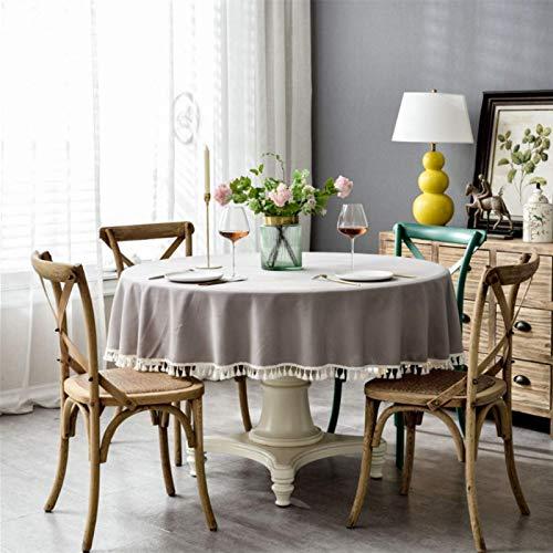 DJUX Impermeable Color sólido algodón y Lino Borla Encaje Mesa de Comedor Redonda Mesa de Centro Mantel 180cm