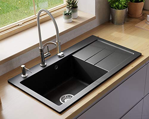 "Black Kitchen Sink Lavello Luxor 100XL 34"" Granite Sink Composite Single Bowl Big Range of Kitchen Sinks Drop In (Drainboard Postion: Right) - Made in USA"