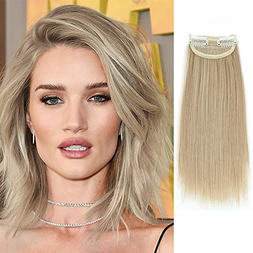 DeeThens 10 Inches Clips in Hairpieces Synthetic Short Straight Hairpieces Invisible Hairpin Hair for Thinning Hair Adding Hair Volume Fluffy Natural Cushion High Hair…