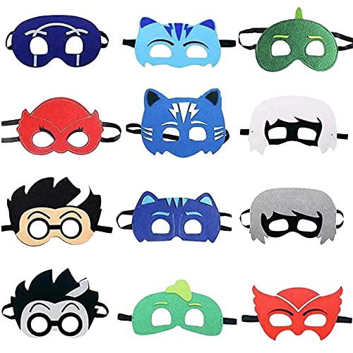 simyron Máscaras de PJ Cartoon Heroes 12 Piezas mascaras cumpleaños infantil Máscaras de Fieltro Mitad Artículos de Fiesta Máscara de Personaje de Cosplay Favores de Fiesta para niños, niñas y niños