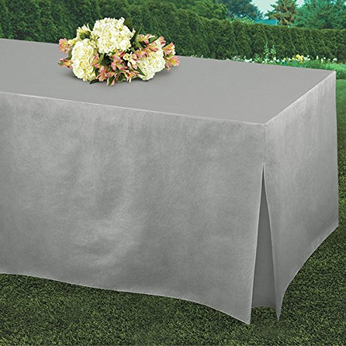 """Amscan 579501.2 Table Fitters Flannel-Backed Table Covers Silver, 72"""" x 31"""" x 27"""", 1 piece"""