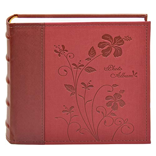 Golden State Art Photo Album, Holds 200 4'x6' Pictures, 2 Per Page, Faux Leather Vintage Inspired Cover, P52028-7 Marron