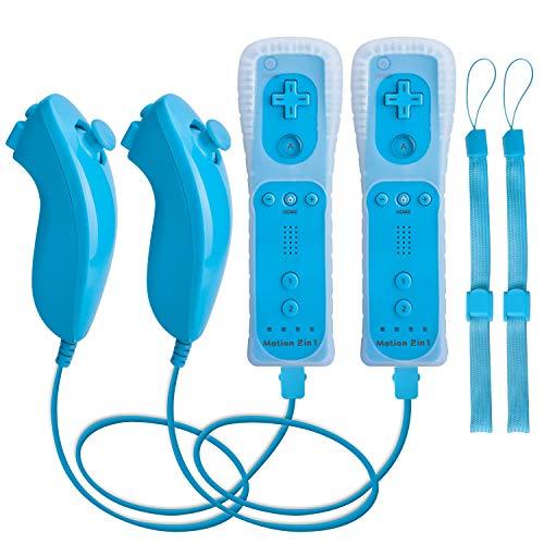 Controlador y Nunchuck para Wii, TechKen Wireless Remote Game Joysticks incorporado Motion Plus controlador para Wii y Wii U (2 azul)