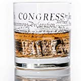 WHISKEY GLASS | CONSTITUTION | 360 Print Design | Commercial Grade Heavy Weighted 11oz Rock Glasses | Made in USA from Lucky Shot (DECLARATION OF INDEPENDENCE, 1)