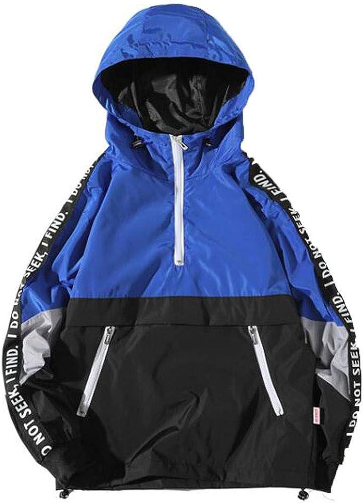 Asibeiul Men's Splicing Pullover Hooded Jacket Sweatshirt Assault Coat Patchwork Loose Autumn Winter Windproof Casual Outwear