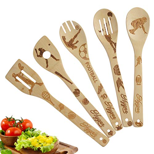 5 Piece Set Kitchen Cooking Utensils Set - Organic Bamboo Spoons Burned Wooden Spoon Turners Carved Spatulas Non-Stick-Great Gift For Chefs & Foodies (Sports Series)