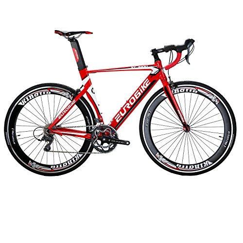 Eurobike EURXC7000 Road Bike 54CM Light Aluminum Frame 16 Speed 700C Road Bicycle Red