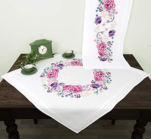 Kamaca - Kit de punto de cruz para mantel (80 x 80 cm, punto plano, punto de aguja, algodón, set completo con plantilla de bordado)