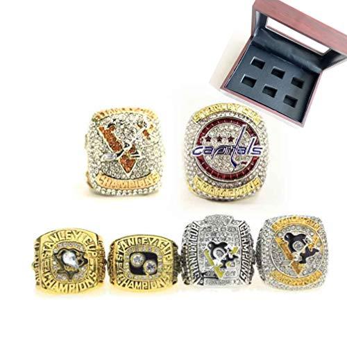 WANZIJING Set von 6 Championship Ring, Pittsburgh Penguin Stanley Cup Ring Legierung Sammlung Ringen Schmuck mit Vitrine Größe 11