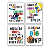 Sports Themed Wall Art Print,Lnspirational Basketball Poster, Artwork Printed With Football, Volleyball, Rugby, Basketball, Decorations For Boys Rooms or Children's Nurseries,Unframed-4 Sets (8'X 10'))